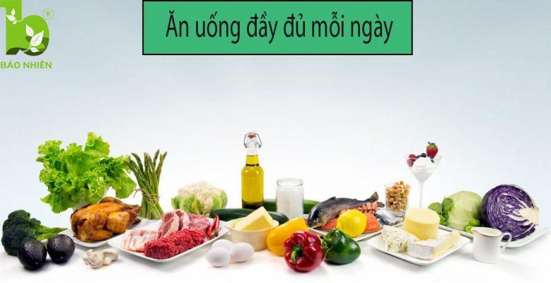 Ăn đầy đủ mỗi ngày giúp giảm mỡ bụng hiệu quả.