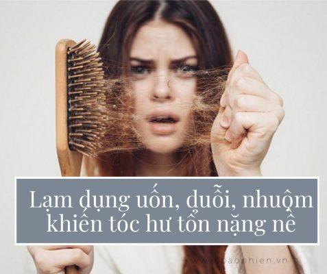 Lạm dụng uốn, duỗi, nhuộm khiến tóc hư tổn nặng nề