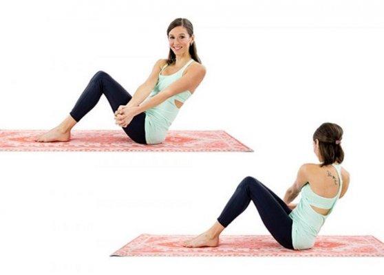 Bài tập xoay người giảm mỡ bụng sau sinh. Ảnh:Fitness and Health
